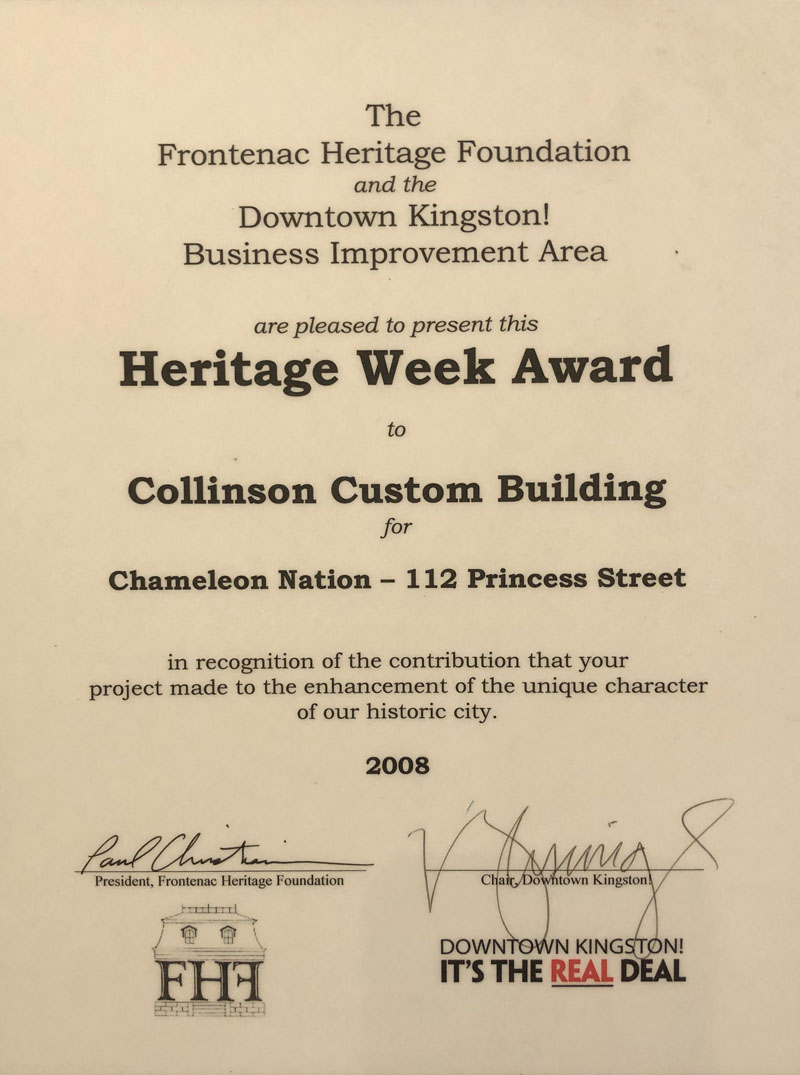 The Heritage Week award 2008 for the Frontenac Heritage Foundation and the Downtown Kingston! Business Improvement Area